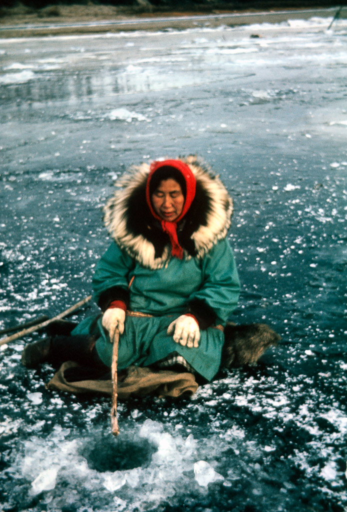 1965? Minnie Gray fishing through the ice for grayling. Wolf ruff with wolverine on the inside closest to the face.