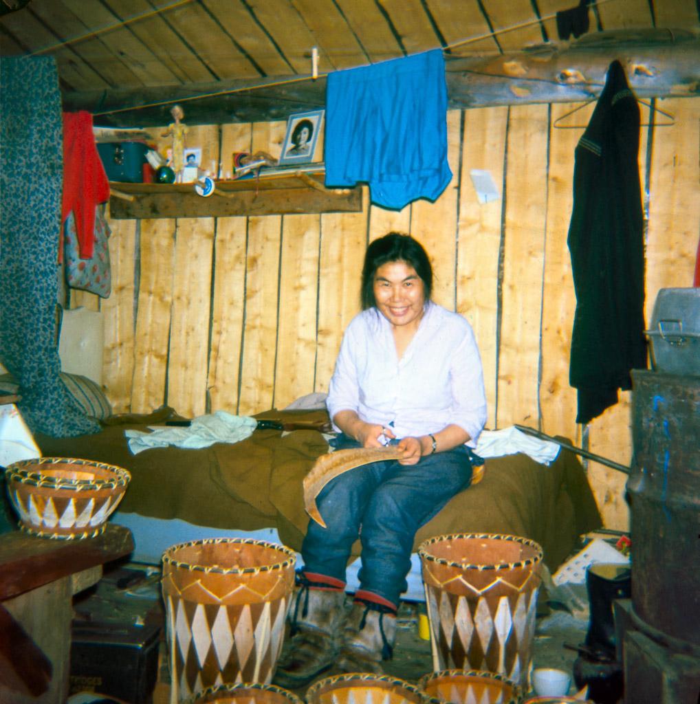 1966? Clara Lee making birch bark baskets, Ambler