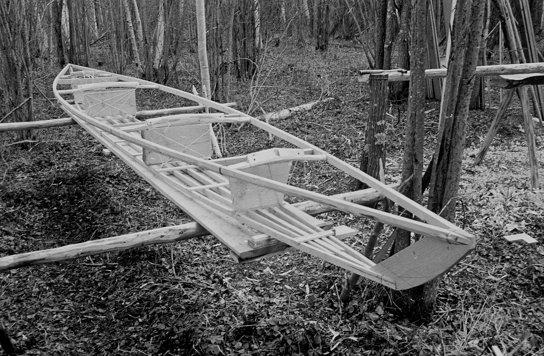Kayak frame, hand-ripped slats