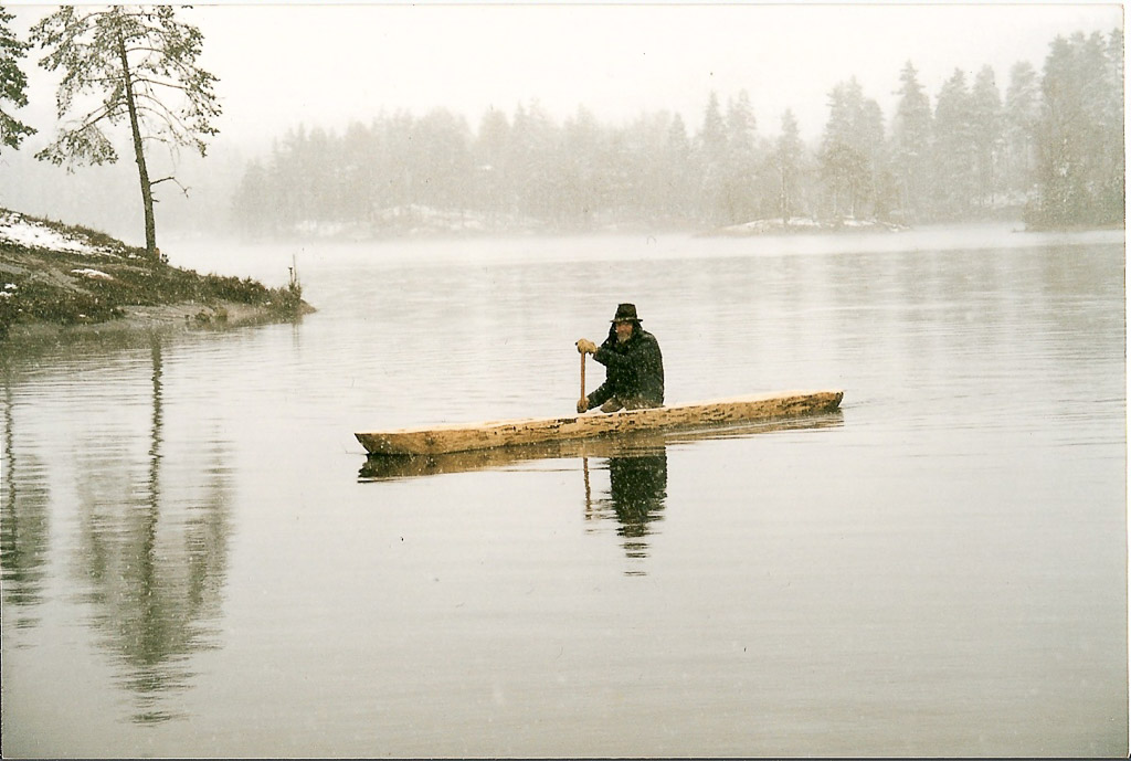 Oliver in one of the dug out canoes he made from a standing tree at Dammann's camp near Oslo Norway