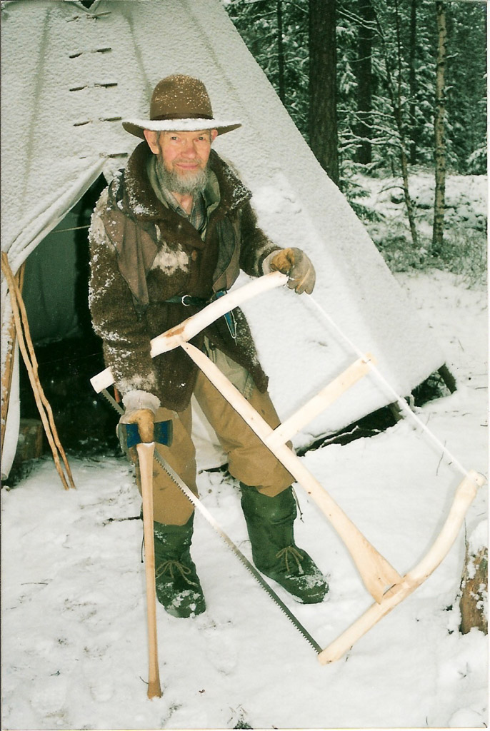 skann0017 Oliver with bowsaw and axe and teepee ~ Norway